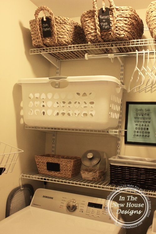 Specific place for laundry baskets in small laundry closet