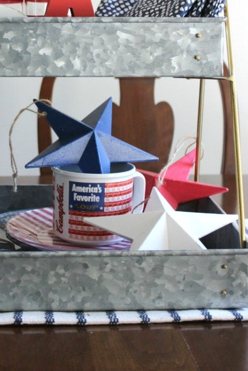 Use patriotic holiday dishes as decor