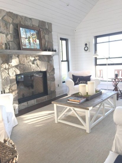 Lakeside Cottage Living Room with White Shiplap