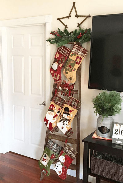 DIY Christmas Stocking Ladder
