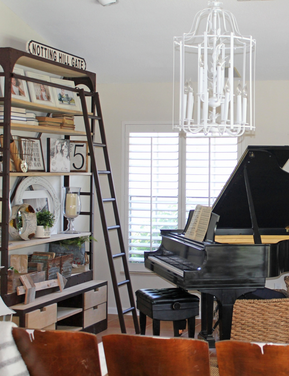 French Country Family Room with Baby Grand Piano