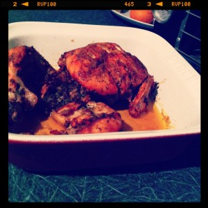 roast chicken in pyrex