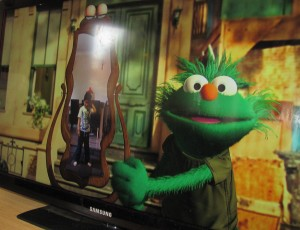 Screen shot of Kinect Sesame Street two way tv season 1 newly created cgi muppet