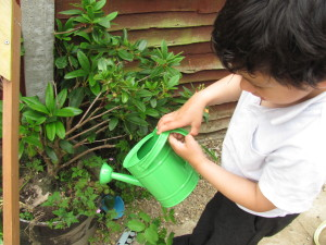 boy with green watering can