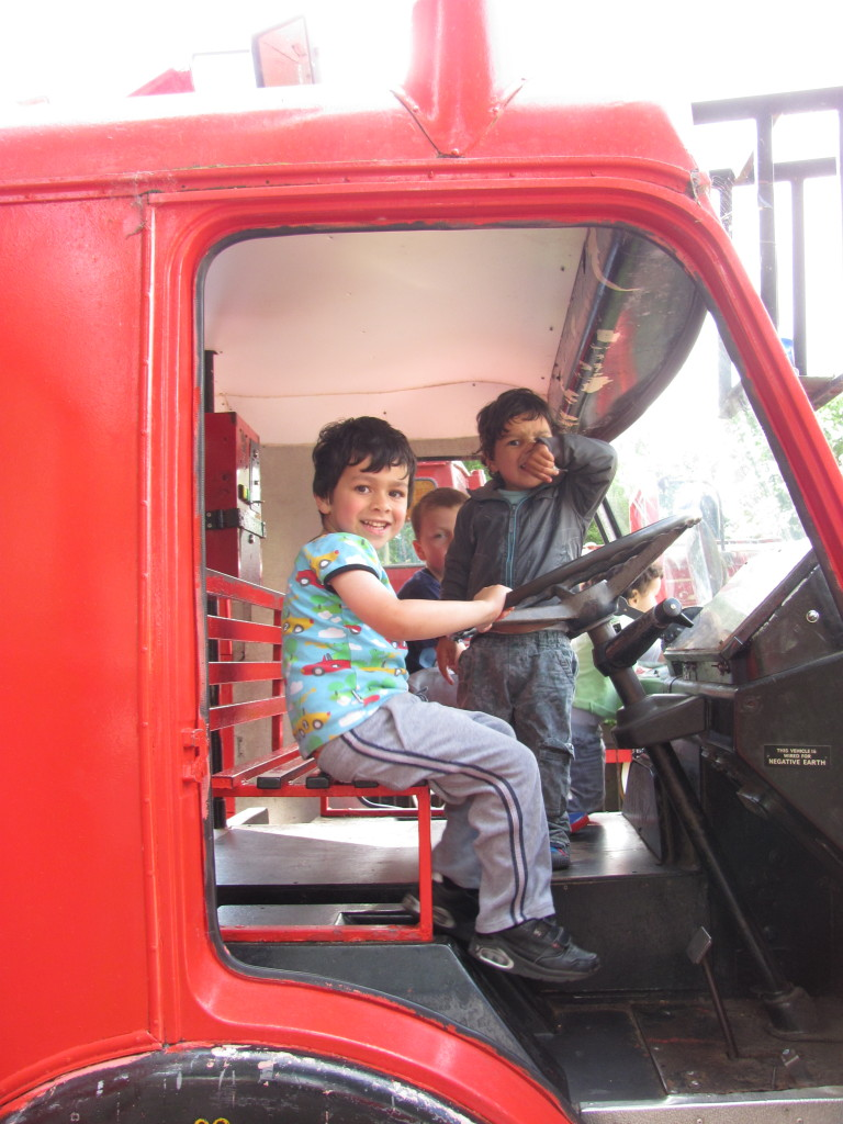 children in fire engine