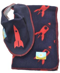 rockets bib and blanket gift set from cornish daisy navy and red
