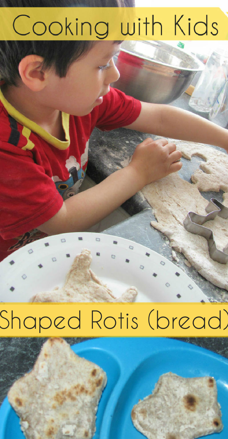 Making shaped rotis with kids - this is lots of fun for them, and the dough can be used like edible playdough