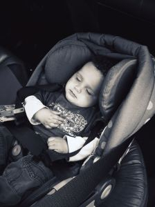 sleeping baby in car