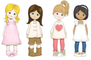 Little Us Dolls - L-R  Chloe, Amelia, Mille and Ruby