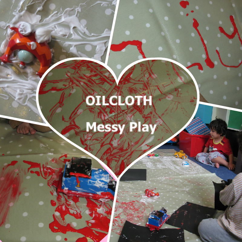 oilcloth messy play sensory play paint shaving foam