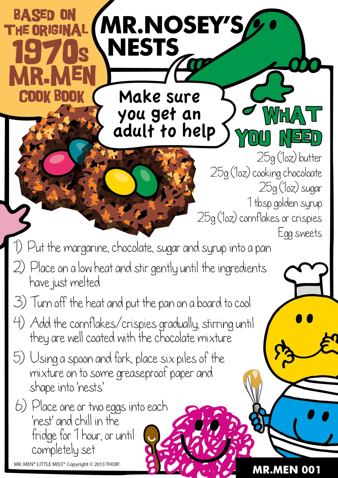 Mr Nosey's Nests. Traditional kids baking recipe for chocolate nests, with a mr men theme