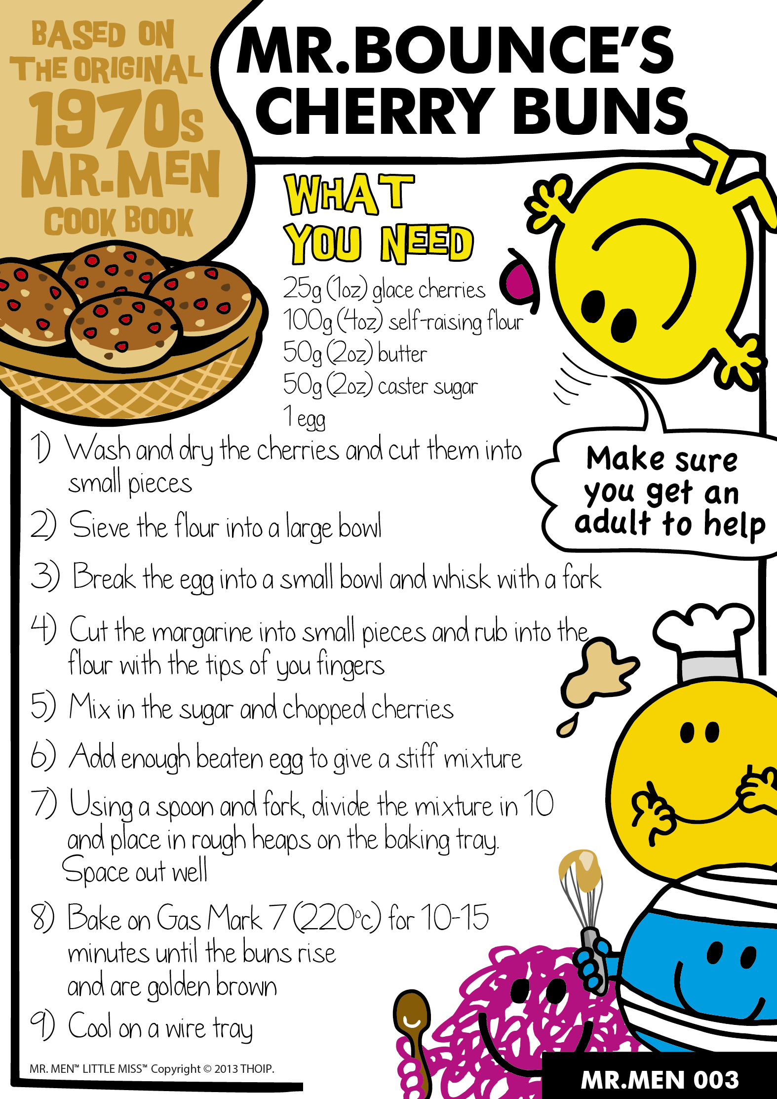 Mr Bounce's Cherry Buns - fun traditional recipe to bake with kids. Mr Men themed