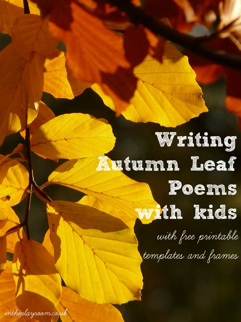 Writing autumn leaf poems with kids. With free printable templates and frames to use.  Fun nature based literacy activity for kids this fall