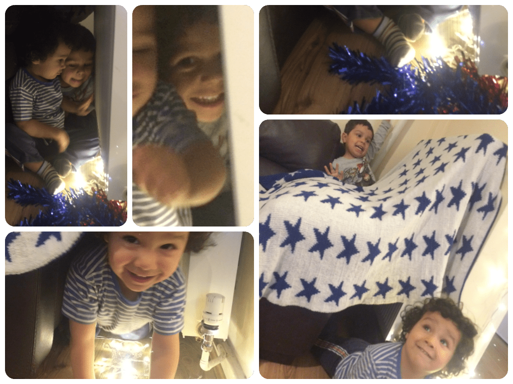 make a blanket fort den with fairy lights