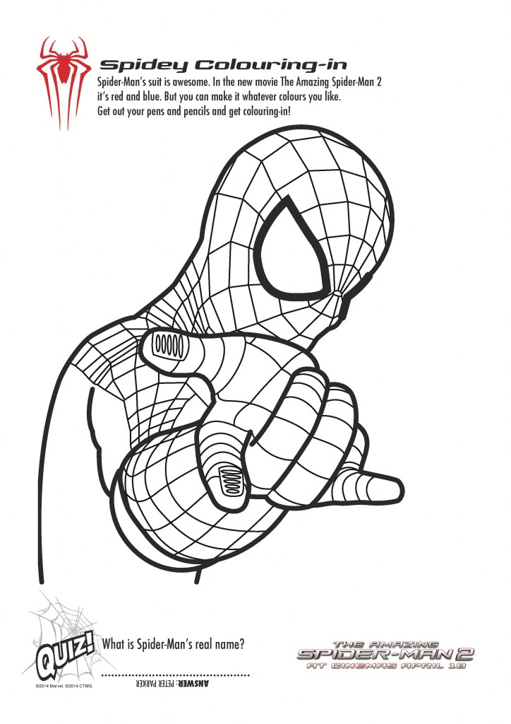 Free Printable Spiderman Colouring Pages and Activity
