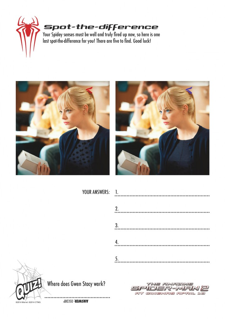 the amazing spider-man 2 spot the difference printables