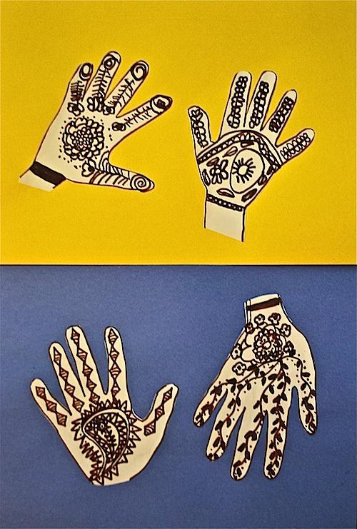 Mehndi henna hands craft for kids