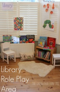 Library role play area for early literacy from the Imagination Tree