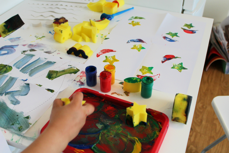 stars and crescents sponge painting ramadan activity
