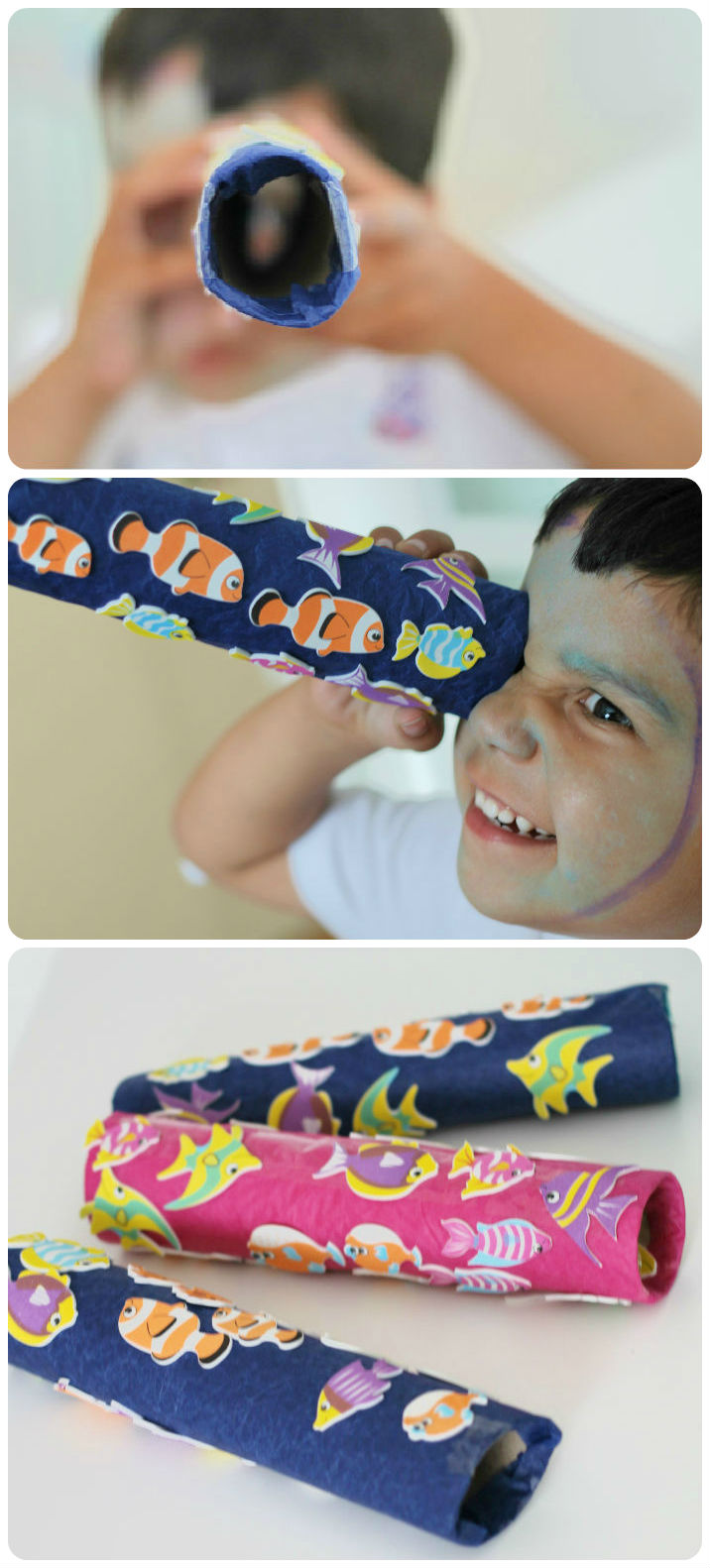 Summer craft idea - Make a telescope with a tropical fish theme!