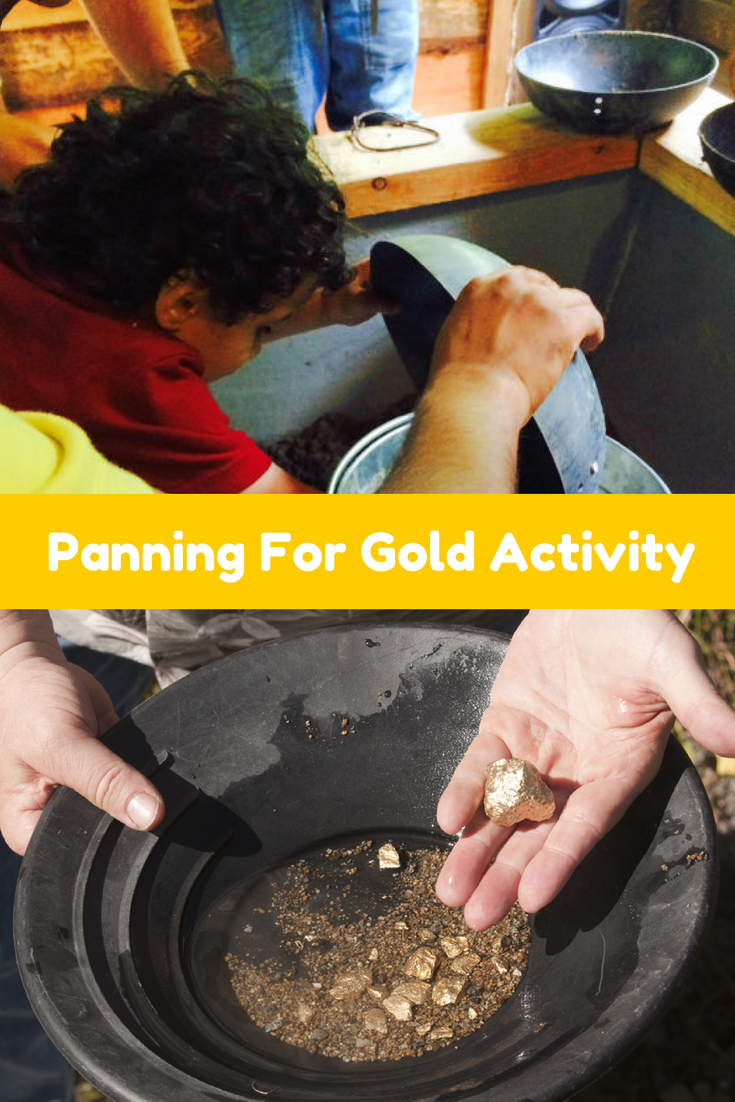 Panning for gold activity for kids