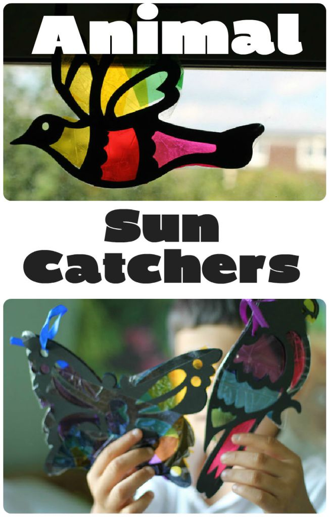 stained glass animal sun catchers, with butterflies and birds