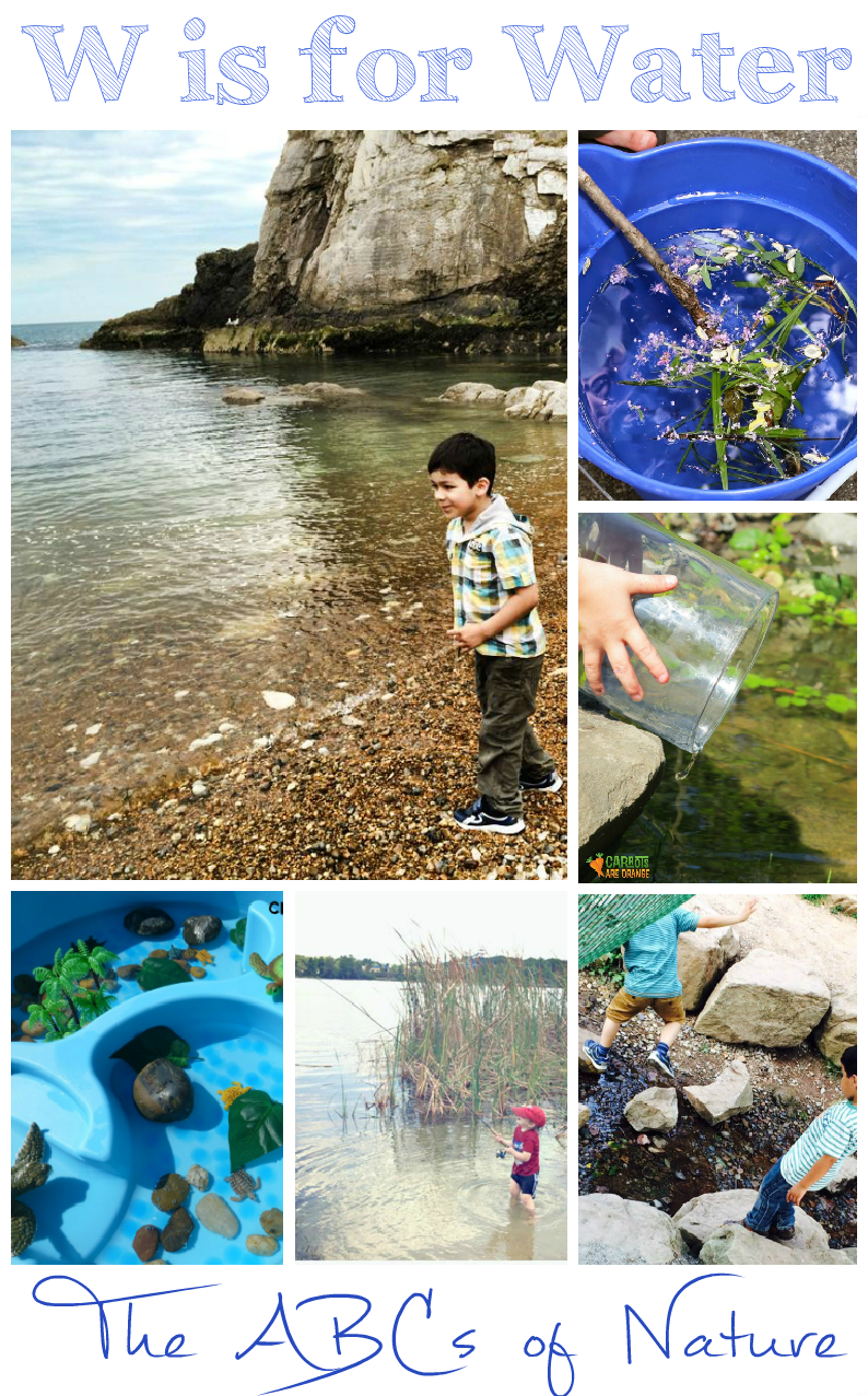 W is for Water - ways to explore water and nature - part of the ABCs of nature series.