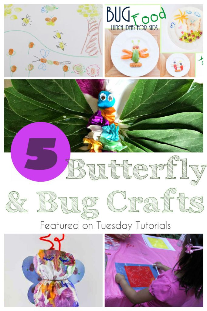 5 Butterfly and bug themed crafts to do with kids, including bug themed lunches, fingerprint bugs and more! Featured on Tuesday Tutorials on intheplayroom.co.uk