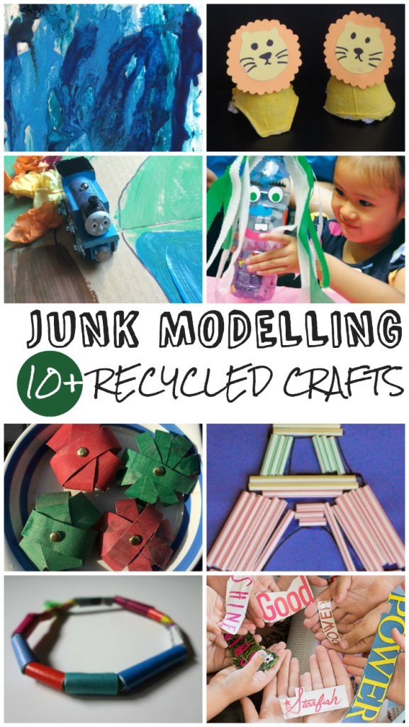 11 recycled / upcycled crafts for kids. I love Junkmodelling - what cool ideas, and a great way to reuse old materials!