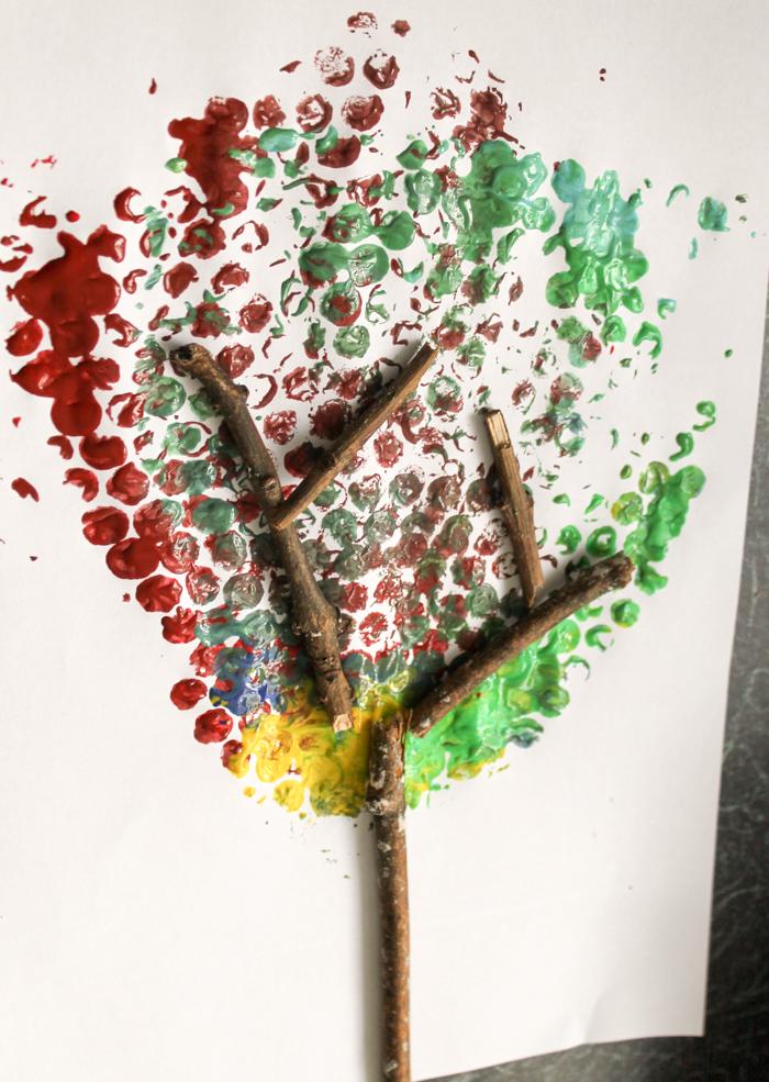 Bubble wrap handprint fall tree