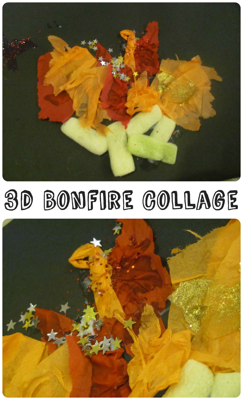3d bonfire collage. 5th November, Bonfire and fireworks night crafts - or works as a camping craft