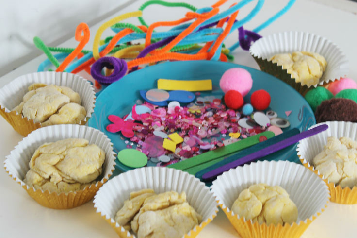 invitation to play with playdough and craft bits
