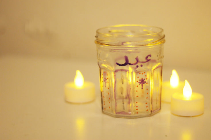Decorated Eid Candle Jar
