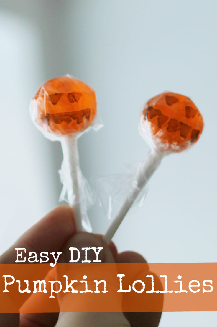Easy DIY halloween pumpkin lollipops