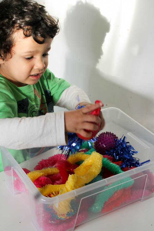 rainbow tactile sensory play bin