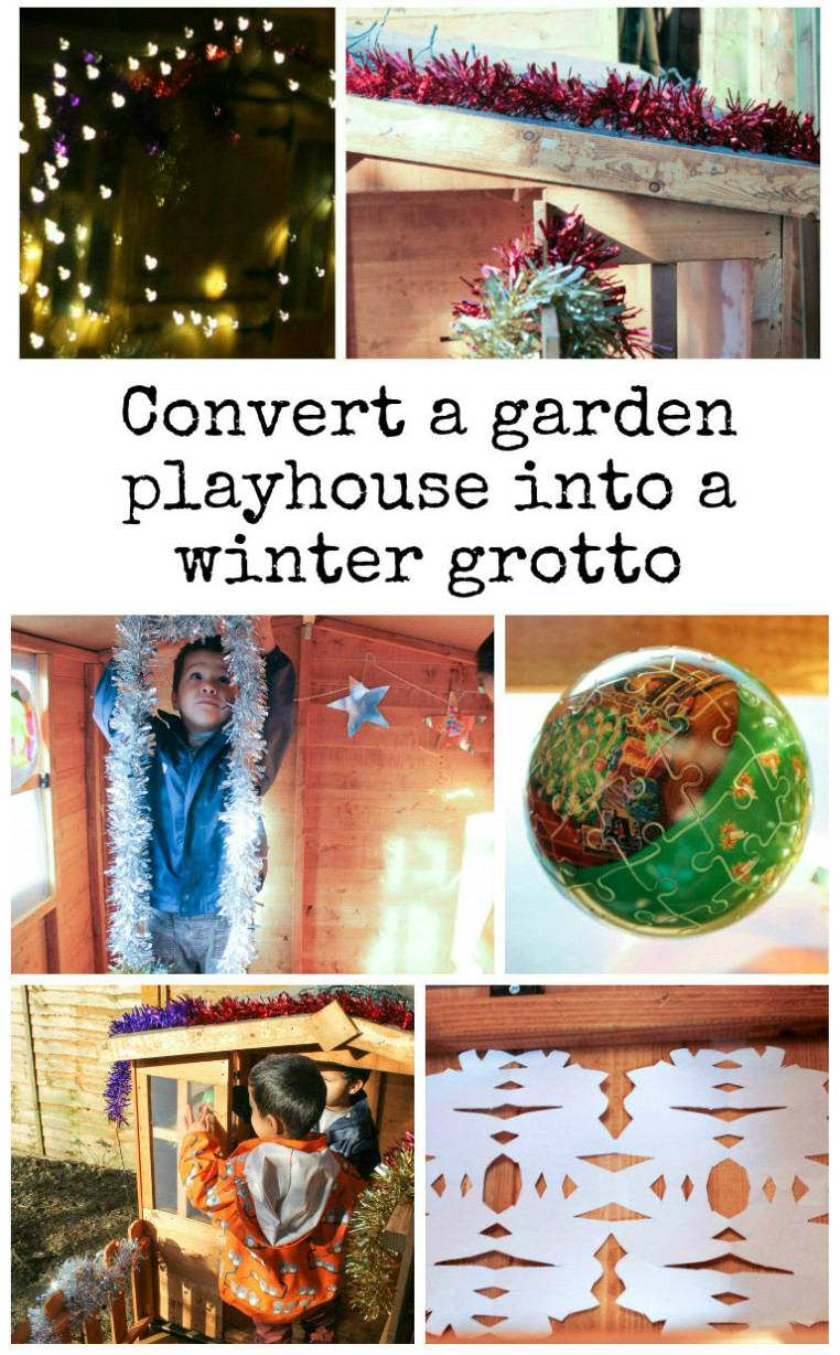 Convert a garden playhouse into a winter grotto - this is such an easy but fun project for kids at Christmas