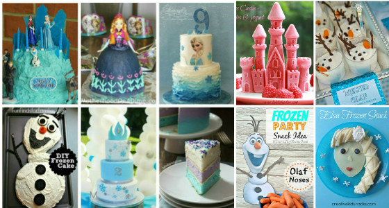 Frozen cakes and healthy Frozen themed deserts and treats for a Frozen party
