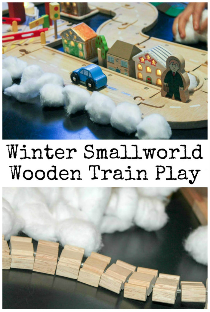 Winter small world wooden train play