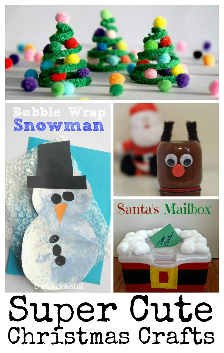 7 Super cute Christmas crafts for kids featuring snowmen, reindeers, christmas trees and santa!
