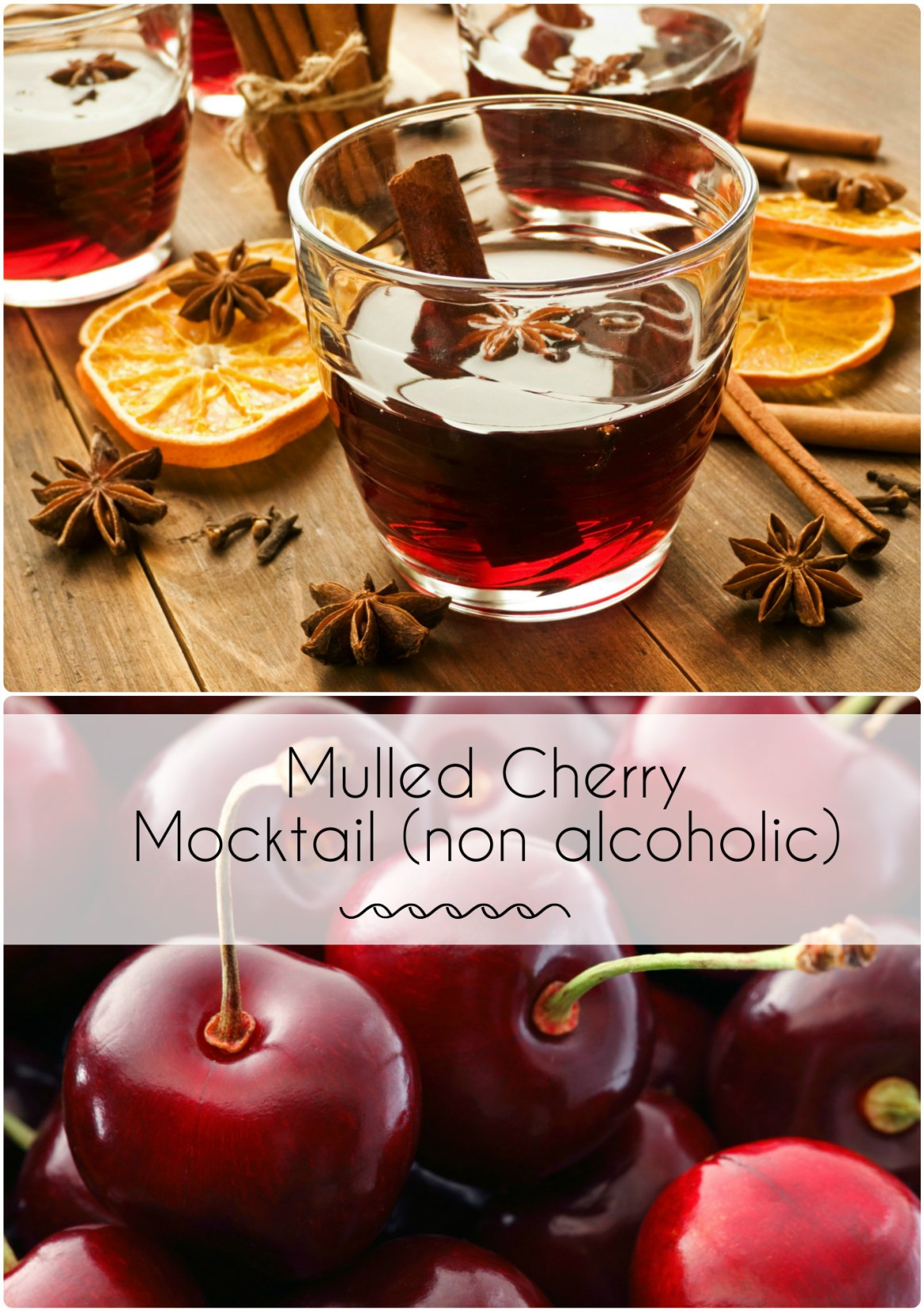 mulled cherry mocktail recipe, a great non alcoholic drink idea for christmas parties