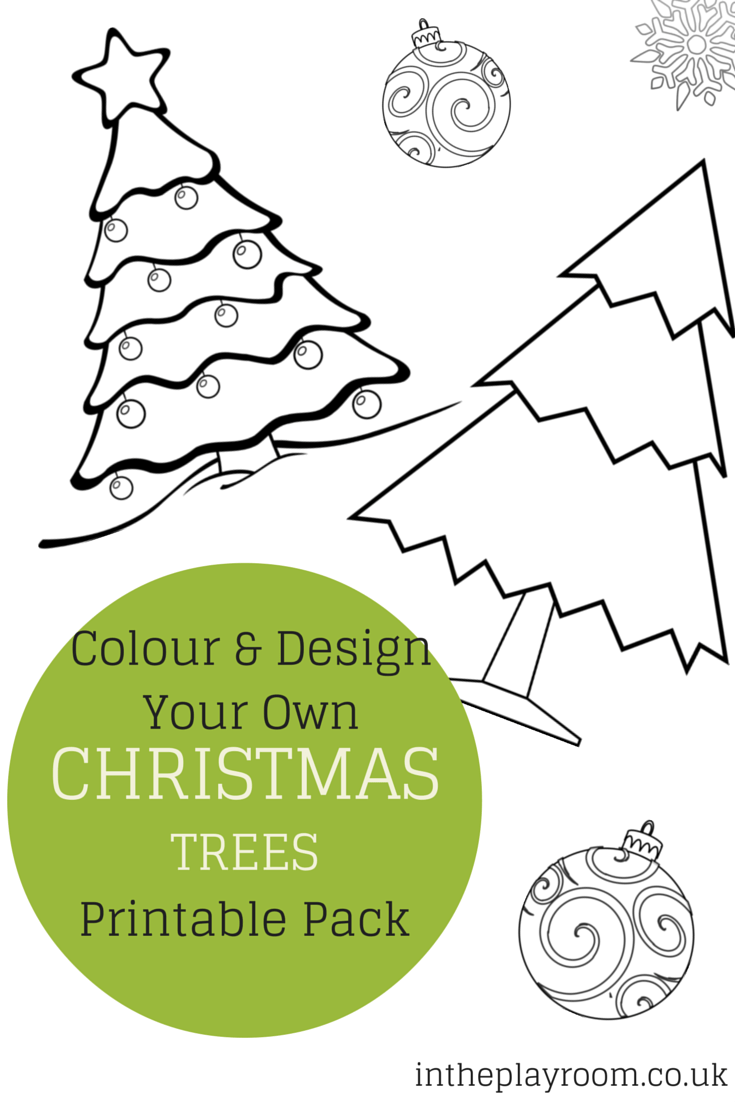 colour and design your own christmas tree printable pack