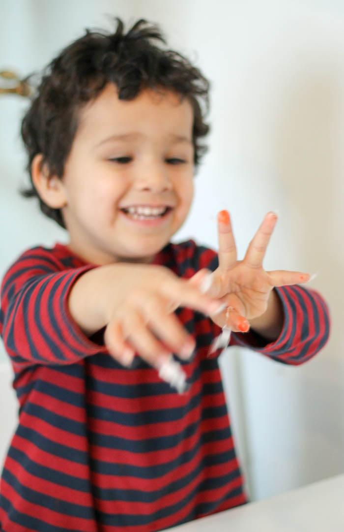 using cotton wool for craft sticky hands
