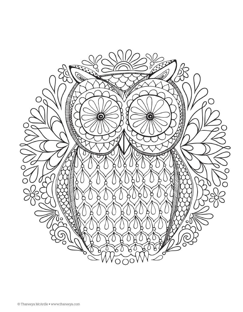 The enchanted forest coloring book uk - Owl Design Nature Mandalas Printable Colouring Page