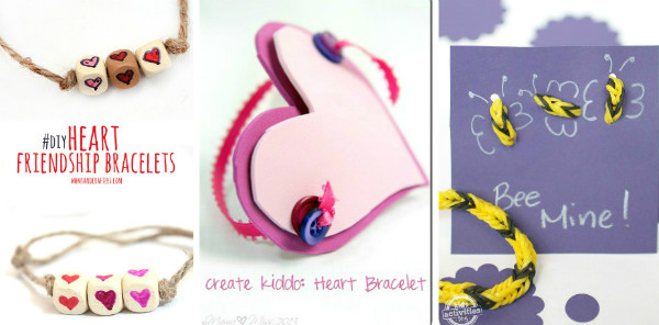 DIY valentines bracelets crafts that kids can wear
