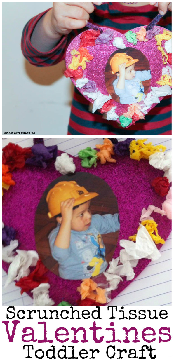 Scrunched tissue paper heart Valentines craft for toddlers or preschoolers