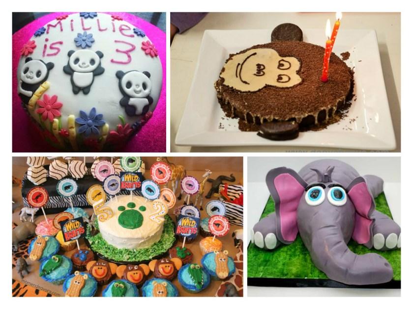 Animal themed birthday cakes with panda cake, monkey cake, elephant cake and jungle animal cakes
