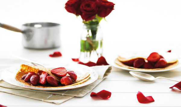 strawberry and chocolate pancakes for Valentines Day