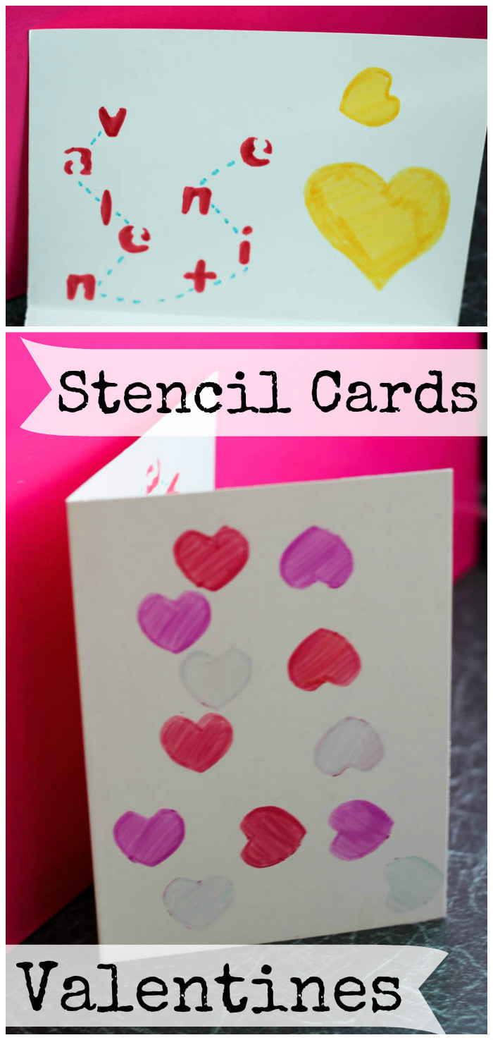 simple stencil Valentines day cards for kids to make