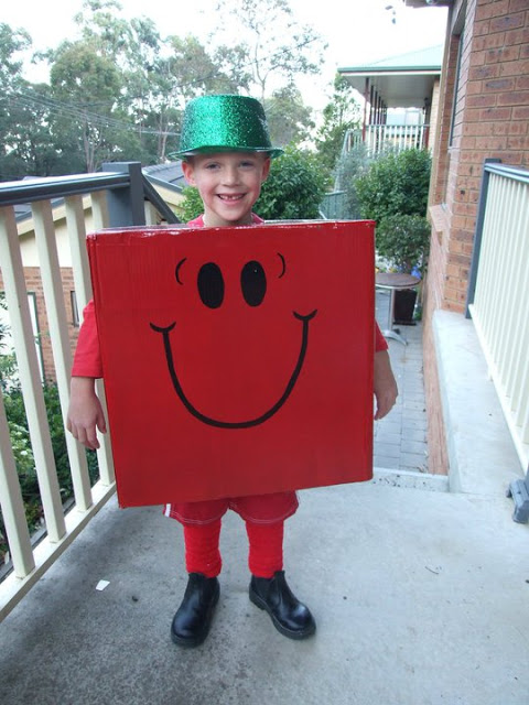 mr strong costume made of cardboard box world book day costume idea