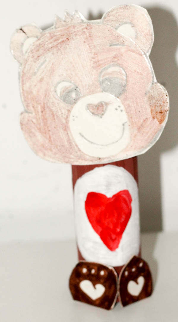 cardboard tube recycled tenderheart carebear craft